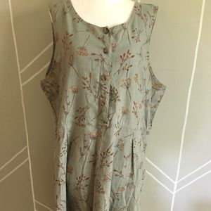 LL Bean Sleeveless Maxi Dress Green Linen Blend